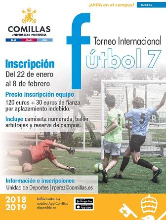 56d04434a0ec1 Abierto el plazo de inscripción al Torneo Internacional de fútbol 7 que  organiza la Unidad de Deportes de la Universidad Pontificia Comillas y que  patrocina ...